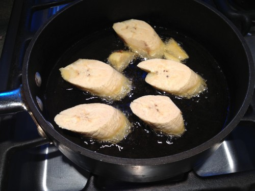 frying the plantains