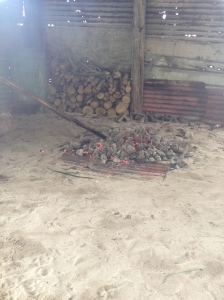 spreading out the hot rocks