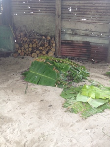 banana leaves to cover the rocks